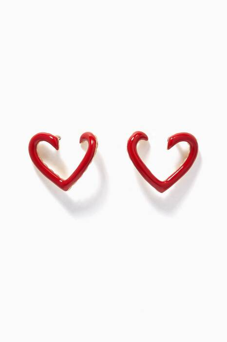 Yellow-Gold & Red Enamel Heart Earrings