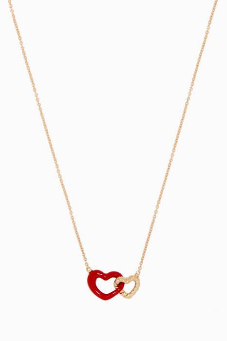 Yellow-Gold Double Heart Necklace