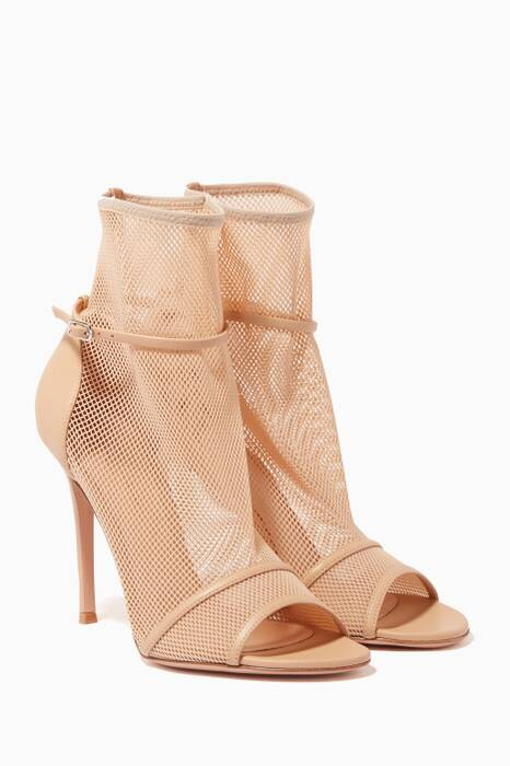 Nude Mesh Open Toe Booties