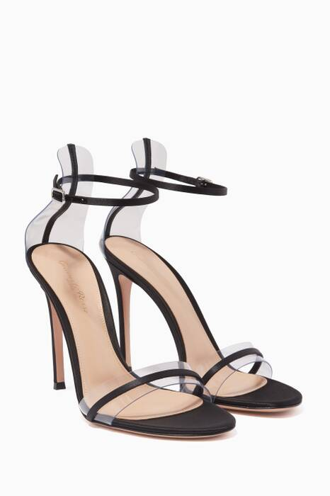 Black Leather-Trim Plexi Sandals