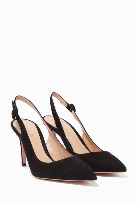 Black Suede Slingback Pumps