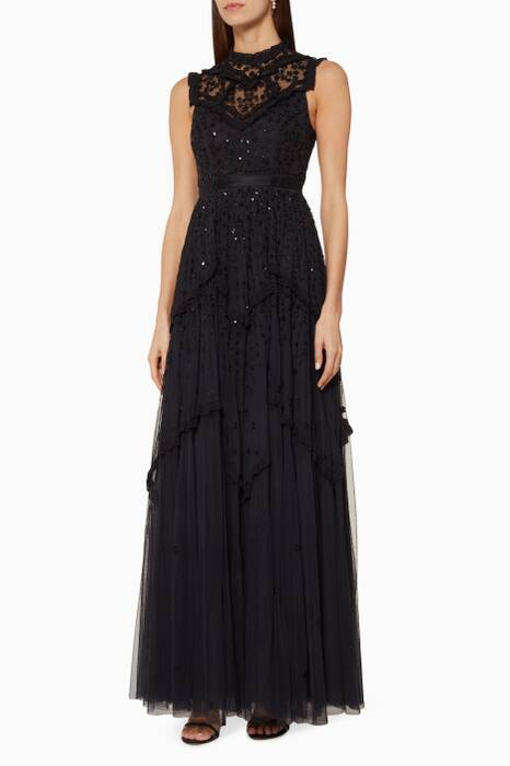 Black Daisy Shimmer Gown