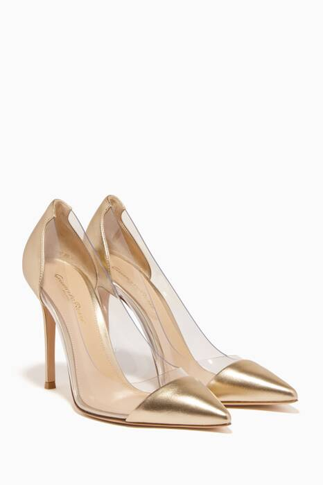 Metallic Gold Leather Plexi Pumps