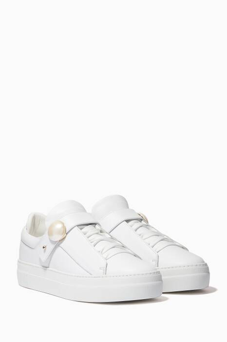 White Low-Top Pearlology Sneakers