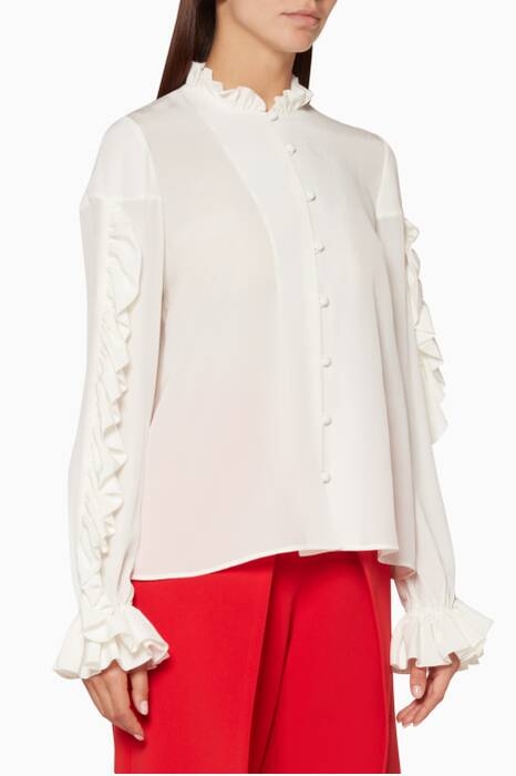 White Ruffled Rocio Top