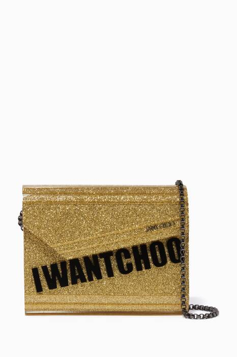 Gold I Want Choo Candy Clutch