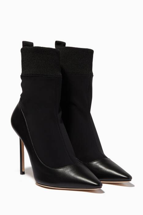 Black Brandon Leather & Sock Ankle Pumps
