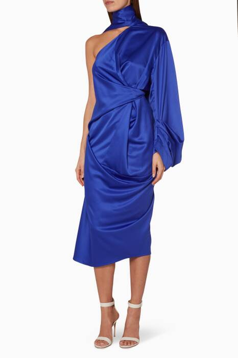 Blue Sorina One-Shoulder Dress