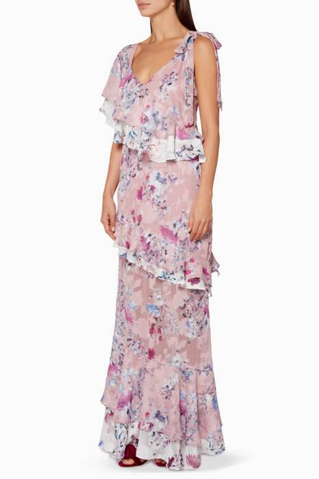 Pink Alessandra Ruffle Maxi Dress