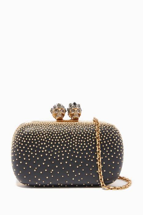 Black King & Queen Studded Clutch