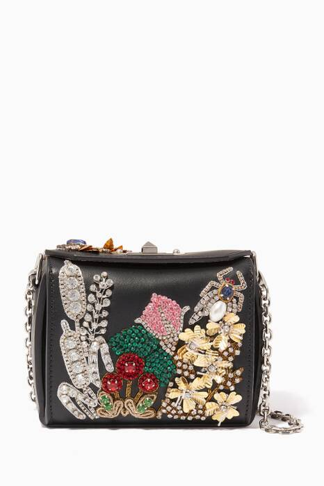 Black Jewelled Garden Nano Box Bag