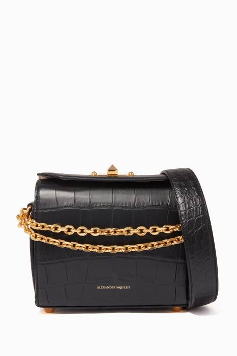 Black Croc-Embossed Medium Box Bag 19