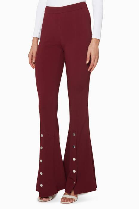 Burgundy Flared-Leg Emma Pants