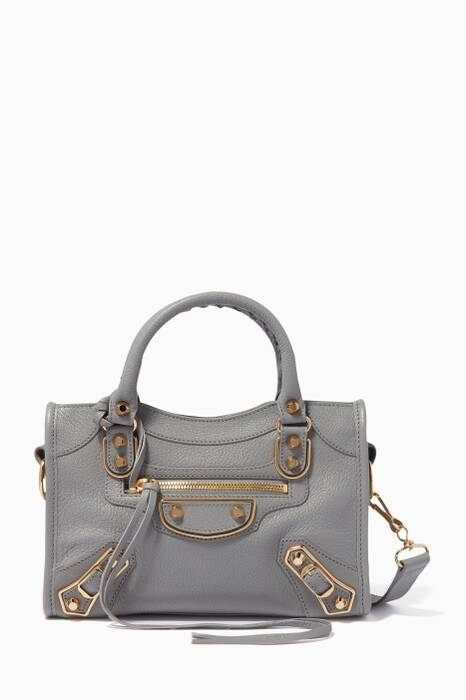 Light-Grey Mini Metallic Edge City Medium Cross-Body Bag