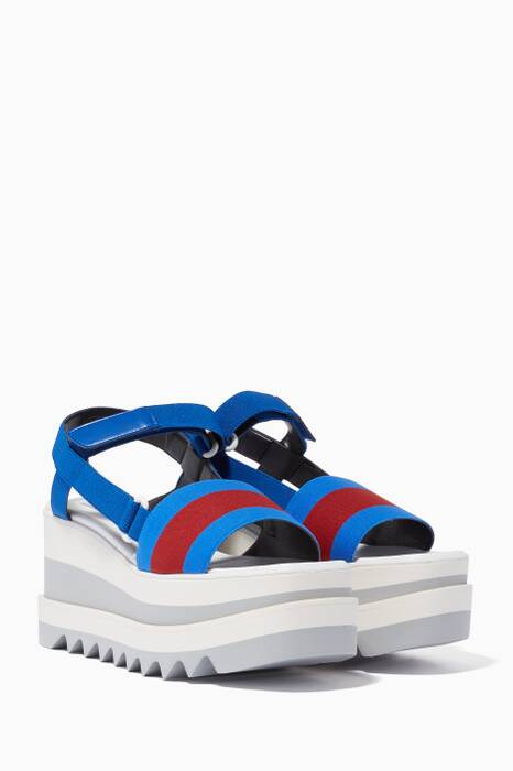 Blue Striped Sporty Platform Sandals