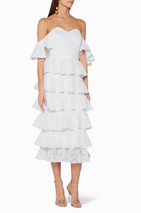White Ruffled Irene Dress
