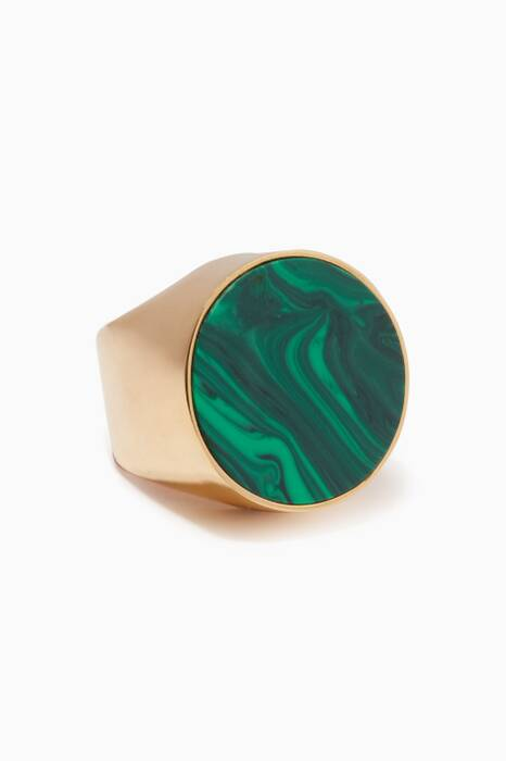 Gold & Malachite Large Tribal Ring