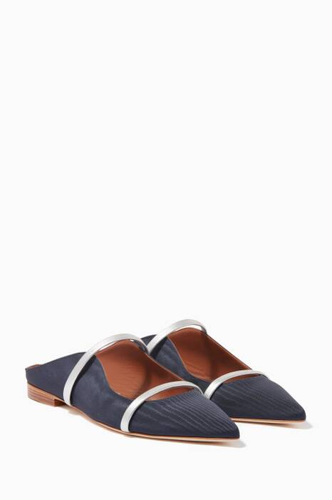 Navy Maureen Grosgrain Satin Flats