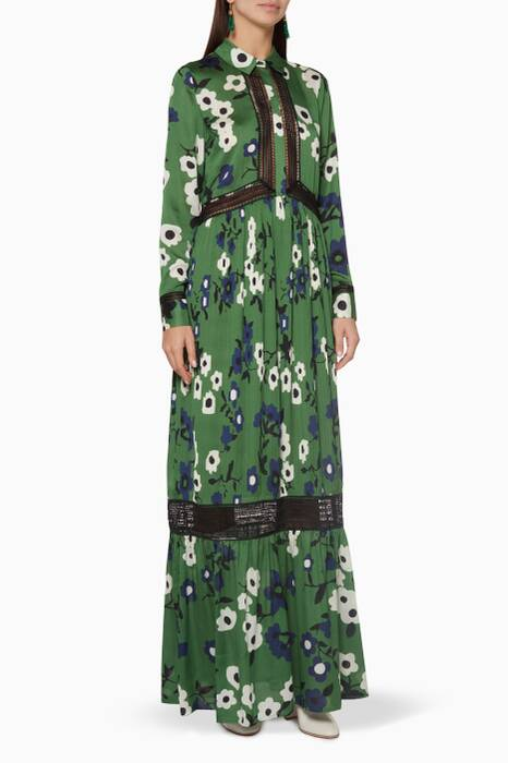 Green Ebony Printed Shirtdress