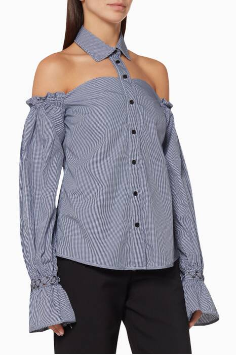 Blue Checked Cold-Shoulder Shirt