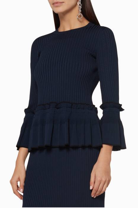 Midnight Ruffled Peplum Top