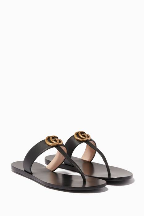 Black Marmont GG Leather Sandals