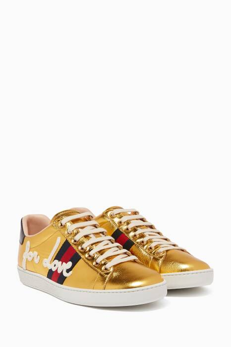 Gold Ace Leather Sneakers