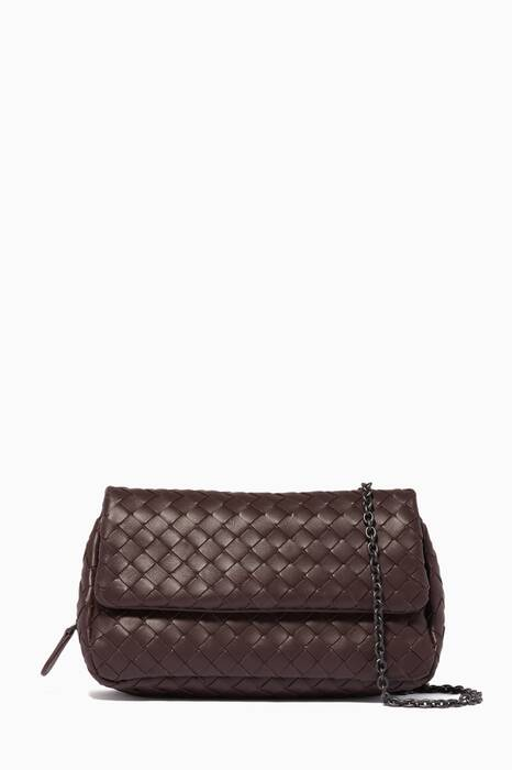 Burgundy Mini Intrecciato Messenger Cross-Body Bag