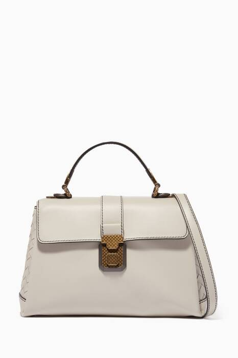Light-Grey Small Nappa Piazza Top Handle Bag