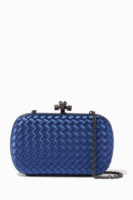 Cobalt Ayers Satin Chain Knot Clutch