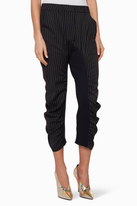 Navy Pinstriped Crop Pants