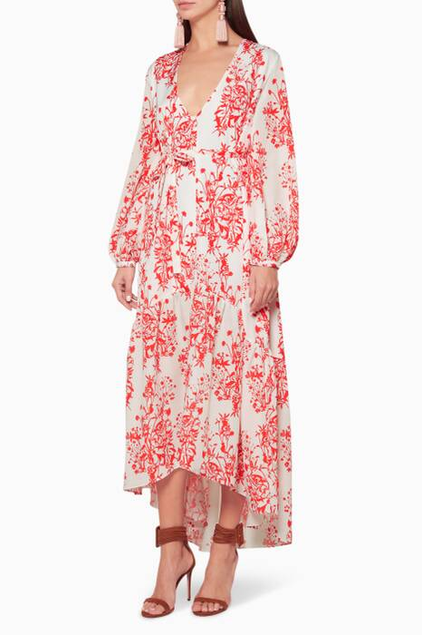 White & Red Wild Bloom Printed Dress