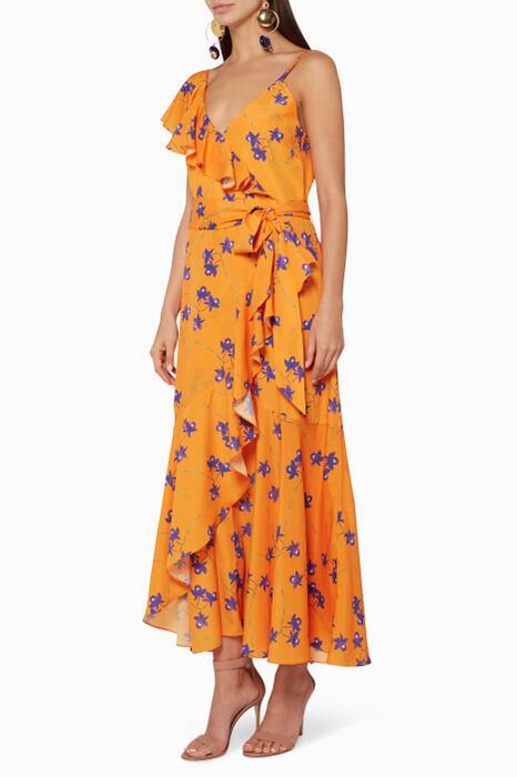 Orange Isadora Ruffled Dress