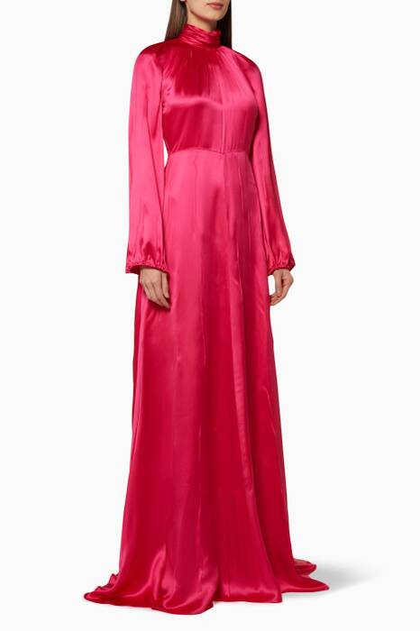 Fuchsia Satin High-Neck Gown