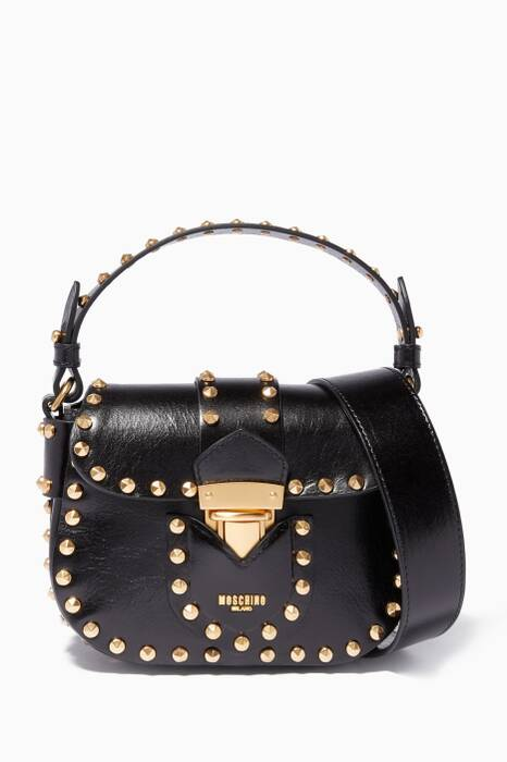 Black Hidden Lock Studded Shoulder Bag
