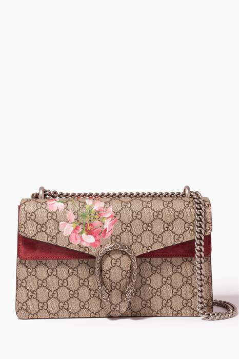 Beige Dionysus Small GG Blooms Shoulder Bag