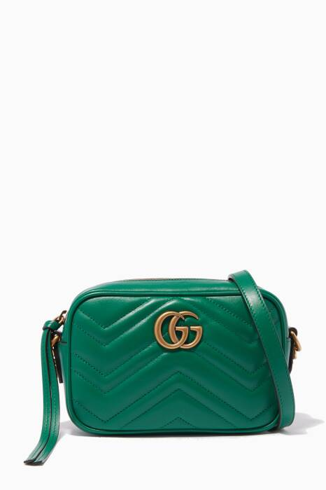 Green Mini Marmont Quilted GG Camera Cross-Body Bag