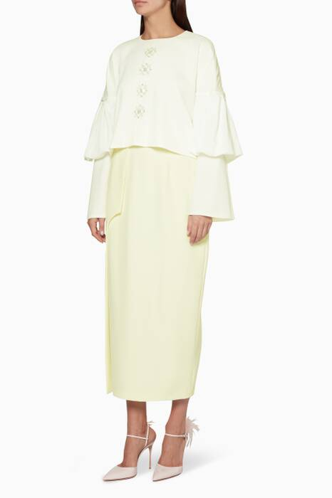 Ivory Bell-Sleeved Blouse & Arched Skirt Set