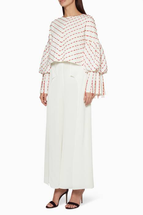 White Bell-Sleeved Blouse & Pleated Pants Set