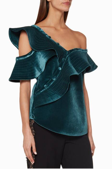 Blue Velvet Sleeveless Frill Top