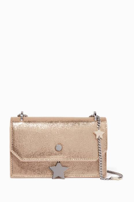 Metallic-Gold Serena Glitter Leather Shoulder Bag