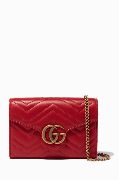 Red GG Marmont Quilted Chain Wallet