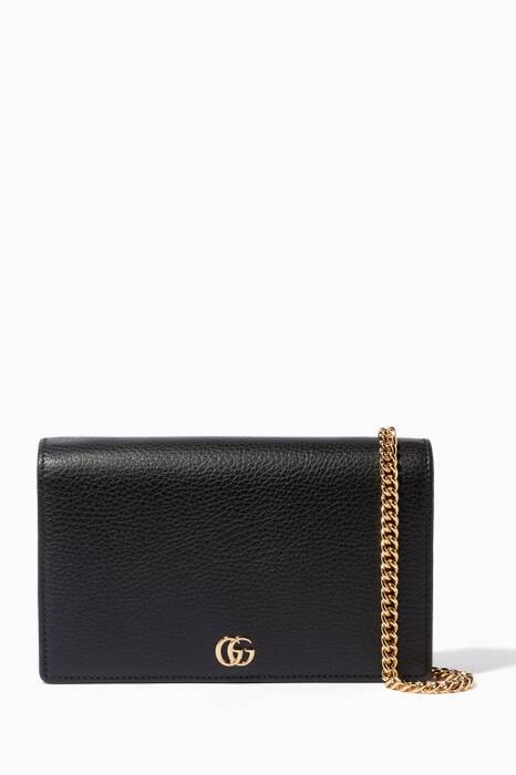 Black Marmont Leather Chain Wallet