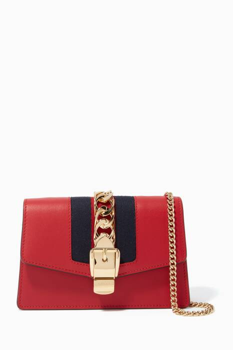 Red Sylvie Leather Chain Wallet Bag
