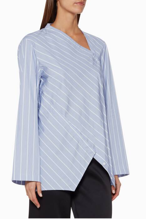 Blue Cotton Spiral Stripe Shirt