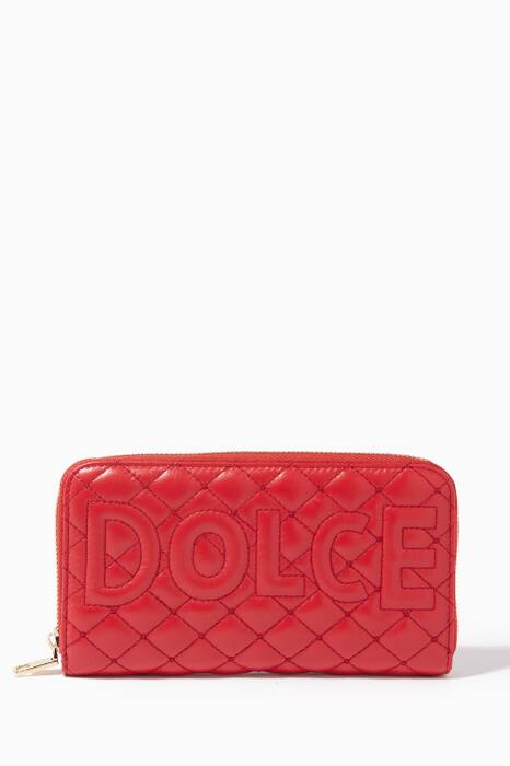 Red Quilted Matelassé Continental Wallet