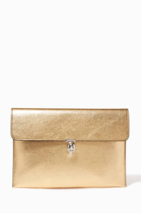 Metallic Gold Skull Envelope Clutch