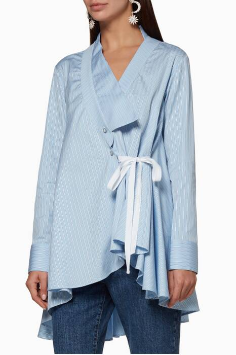 Pastel-Blue Striped Extended Collar Shirt