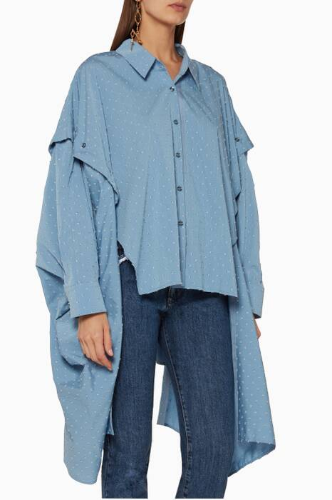 Blue Dotted Poet Cape Shirt