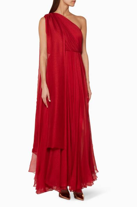 Red Altheda One-Shoulder Gown